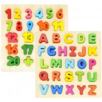 Gemem Alphabet Puzzles Wooden Upper Case Letter Puzzle Abc And Number Learning Blocks Board Toys