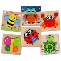 Beebeerun Wooden Jigsaw Puzzles 6 Pack Animal Puzzles For Toddlers 1 2 3 Years Old Boys Girls