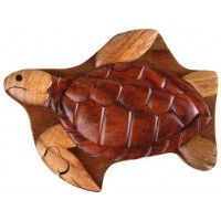 Sea Turtle Wood Box Hand Carved With Hidden Compartment 4 Parts Assemble Like A Puzzle 55 X 4 X