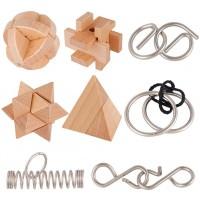 Coogam Brain Teasers Metal And Wooden Puzzles Iq Test Disentanglement 3D Iron Link Interlock Jigsaw