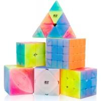 Dfantix Qiyi Jelly Cube Set 6 Pack Speed Cube Set 2X2 3X3 4X4 Pyramid Skewb Ivy Cube Qiyi Qidi S
