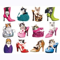 Lafayette Puzzle Factory Pretty Kitties In Fancy Shoes Shiny Purses A Collection Of 12 Mini Shaped