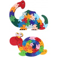 Lovestown 2Pcs Wooden Animal Puzzles Alphabet Jigsaw Puzzle Building Blocks