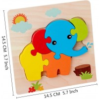 Babe Rock Wooden Jigsaw Puzzles For Toddlers Age 1 2 3 4 5 6 Pack Shape Color Learning Educational