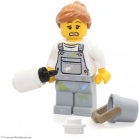 Lego City Minifigure Fence Painter W Overalls W Paint Splatters