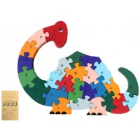 Prow Winding Dinosaur 3D Wooden Jigsaw Children 26 Blocks Numbers Alphabet A To Z Safe And Nontoxic