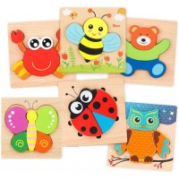 Luckxt Wooden Jigsaw Puzzles Wooden Animal Puzzles For Toddlers 1 2 3 Boys Girls Educational Toys