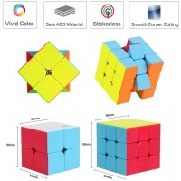 Roxenda Speed Cube Set Stickerless Magic Cube Set Of 2X2X2 3X3X3 Cube Frosted Puzzle