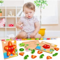 Aolige Toddlers Wooden Jigsaw Peg Puzzles Boys Girls Preschool Learning Educational