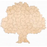 70 Piece Blank Tree Shaped Wooden Guest Book