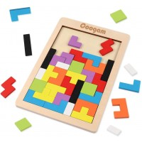 Coogam Wooden Tetris Puzzle Brain Teasers Toy Tangram Jigsaw Intelligence Colorful 3D Russian
