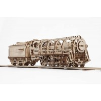 Ugears Locomotive With Tender Mechanical 3D Puzzle Wooden Construction Set Business Gift Christmas
