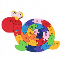 Prow Colourful Woodmade Snail Shape Alphabet Numbers Puzzle Safety Toy Preschool Children Boys