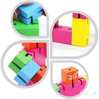 Tkmom Brain Teaser Wooden Robot Transformer Toy Multicolor Tetris Twister Cube