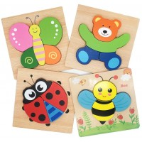 Tunery Wooden Animal Jigsaw Puzzles For Toddlers Toys 1 2 3 Boys Girls Educational Gift