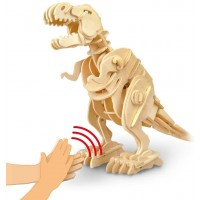 3D Jigsaw Puzzle Wood Diy Craft Kit Dinosaur Puzzle Sound Control Toy Walking Wooden Creative