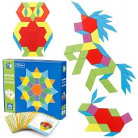 Coogam 130 Pcs Wooden Pattern Blocks Set Geometric Manipulative Shape Puzzle Graphical Early