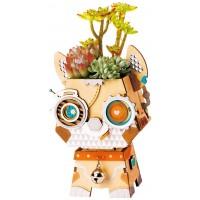 Rolife Wood Craft Construction Kit Wooden Dog Flower Pot