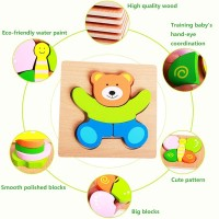 Tinabless Wooden Animal Jigsaw Puzzles For Toddlers 1 2 3 Years Old Boys Girls Educational Toys