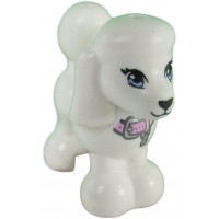 Lego White Poodle Animal Minifigure W Pink Collar Lady