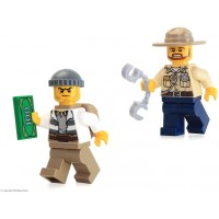 Lego City Minifigure Combo Swamp Police Crook Male Officer W Dark Tan