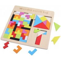 Gemem 3 In 1 Wooden Tetris Puzzle Brain Teasers Toy Tangram Jigsaw Intelligence Colorful Wood 3D