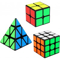 Speed Cube Set Aitbay Cube Bundle 2X2 3X3 Pyramid Magic Puzzle Cube Toy 3