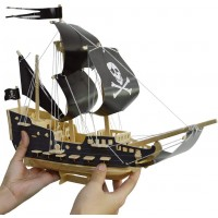 Pirate Ship Puzzle And Motorcycle Puzzles Wooden Puzzles Building Blocks Toys Diy Stereo Model