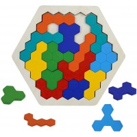 Wooden Puzzles Brain Teasers Toy Adults Hexagon Shape Tangram Puzzle Montessori Educational