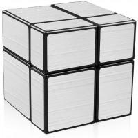 Qiyi Mirror Cube 2X2 Speed Cube 2X2X2 Mirror Blocks Unequal Puzzle Silver