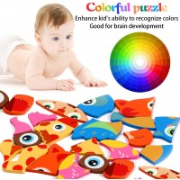 Aolige Toddler Wooden Jigsaw Puzzles Preschool Educational Toys 1 2 3 Years Old Pack Of