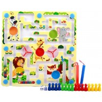 Color Tree Magnetic Bead Maze Puzzle Zoo Pattern Magnet Pen Driving Labyrinth For Children 3 Years