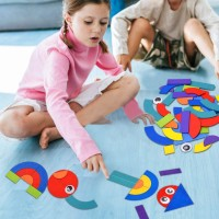 Wooden Pattern Blocks Toddler Puzzles 36 Shape Pieces 50 Animals Jigsaw Design Cards For Playing