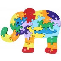 Kennedy Children 26 English Alphabet Cognitive Puzzle Block Toy Puzzle Wooden Dinosaur Elephant