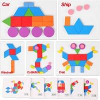 Kacaga Wooden Pattern Blocks Jigsaw Puzzle Animal Geometric Shapes Stem Stacking Games Montessori