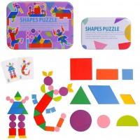 Wooden Pattern Blocks Tangram Shape Puzzle Wood Anima Color Sorting Stacking Fine Motor Skill