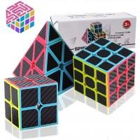 Speed Cube Set Carbon Fiber Sticker Puzzle Cube Bundle Magic Cube Set Of 2X2X2 3X3X3 Pyramid