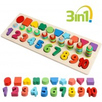 Jcren Wooden Number Puzzle Sorting Montessori Toys For Toddlers Shape Sorter Counting Game Early