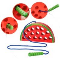 Wooden Lacing Watermelon Threading Toy Wood Block Puzzle Travel Game Fine Motor Skills Montessori