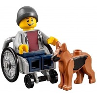 Lego Town City Fun In The Park Minifigure Disabled Handicapped Man Boy With Dog In Wheelchair
