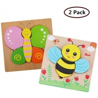 Ddmy Wooden Jigsaw Puzzles Set Age 1 2 3 4 2 Pack Animals Puzzles For Toddler Children For Color