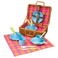 Picnic Basket 18 pc Kids Pretend Picnic Set