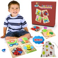 Happytoy4U Animal Jigsaw Wooden Puzzles For Toddlers 4 Pack Learning Toys 1 2 3 Kids Boys Girls
