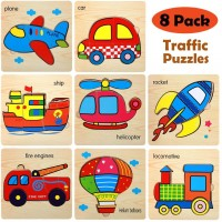 Wooden Jigsaw Puzzles For Toddlers Kids Age 1 2 3 Preschool Girls Boys Vehicle Puzzles Early