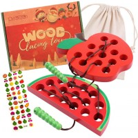 Lacing Toy For Toddlers Wooden Threading Toys 1 Apple And 1 Watermelon With Bag And Sticker