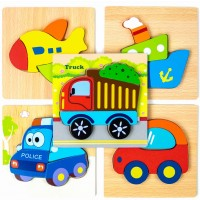 Bhappy Wooden Jigsaw Puzzles Vehicle Patterns For Toddlers Kids 1 2 3 Years Old Gift 5 Pcs Truck