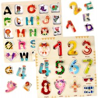 Wooden Puzzles For Toddlers 1 2 3 s Kids And Babies Matching Uppercase Alphabet Game Learning