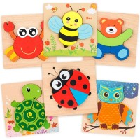Coogam Wooden Jigsaw Puzzle Set 6 Pack Animal Shape Color Montessori Toy Fine Motor Skill Early