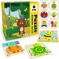 Toddler Puzzles Wooden Jigsaw Animals Puzzles For 1 2 3 Girls Boys Toddlers Educational Preschool