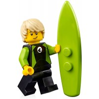 Lego City Minifigure Surfer In Black And Lime Wetsuit W Surfboard